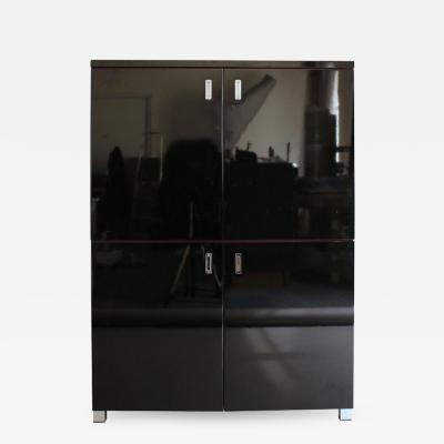 FRENCH 1970S BLACK LACQUERED CABINET