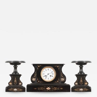 FRENCH 19TH CENTURY AESTHETIC MOVEMENT THREE PIECE CLOCK GARNITURE