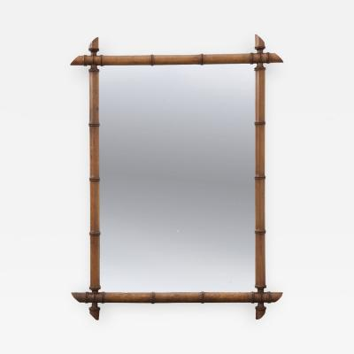 FRENCH 19TH CENTURY CARVED FAUX BAMBOO MIRROR