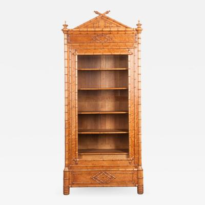 FRENCH 19TH CENTURY FAUX BAMBOO BIBLIOTH QUE