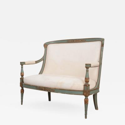 FRENCH 19TH CENTURY PARCEL GILT EMPIRE SETTEE
