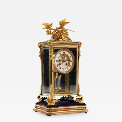 FRENCH 8 DAY STRIKING FOUR GLASS ORMOLU CLOCK BY SAMUEL MARTI PARIS