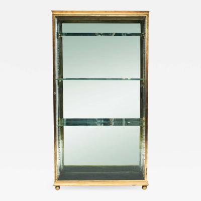 FRENCH ART DECO BRASS AND GLASS VITRINE DISPLAY CABINET