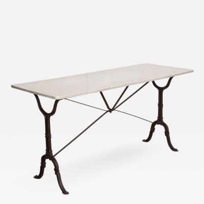FRENCH EARLY 20TH CENTURY LONG MARBLE TOP BISTRO TABLE