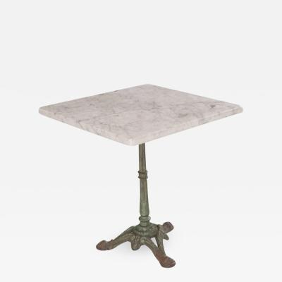FRENCH EARLY 20TH CENTURY SQUARE FRENCH MARBLE TOP BISTRO TABLE