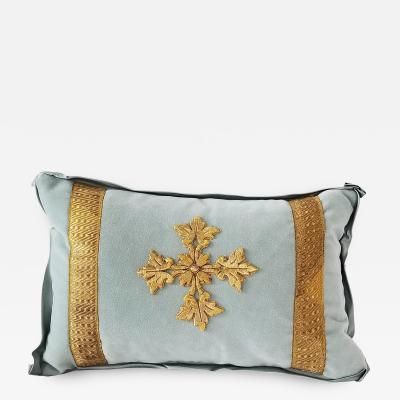 FRENCH ECCLESIASTICAL EMBROIDERED METALLIC CROSS APPLIQUE ON CUSTOM DOWN PILLOW