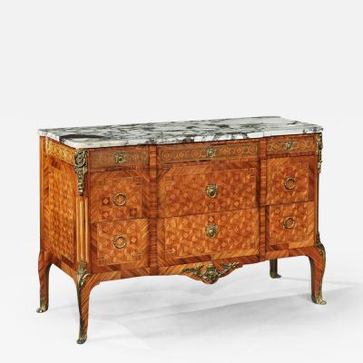 FRENCH GILT BRONZE MOUNTED TULIPWOOD AND KINGWOOD MARBLE TOPPED COMMODE