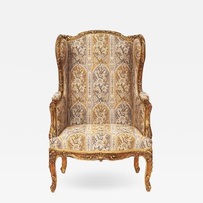 FRENCH NAPOLEON III GILTWOOD WING CHAIR APPROX 1870