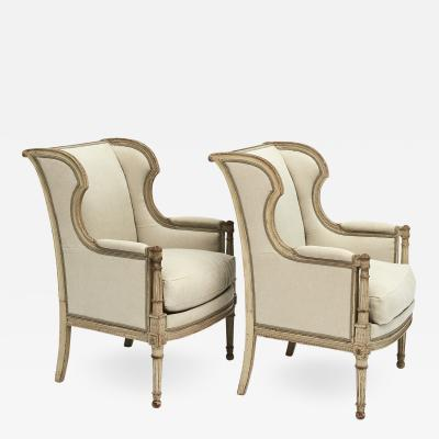 FRENCH PAIR OF LOUIS XVI STYLE BERG RE ARMCHAIRS