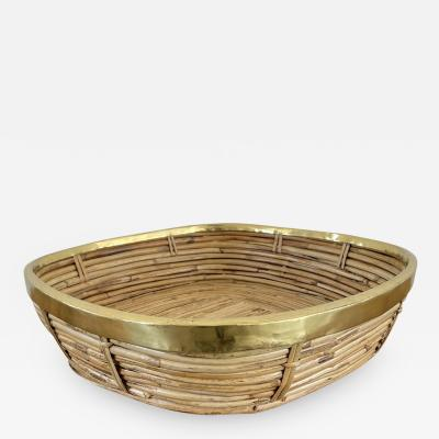 FRENCH RATTAN AND BRASS BOWL