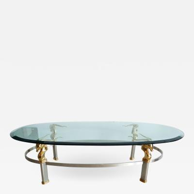 FRENCH STEEL AND BRASS OVAL COFFEE TABLE WITH GAZELLE MOTIF