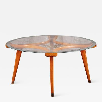 FRITHSO WALNUT AND GLASS COFFEE TABLE