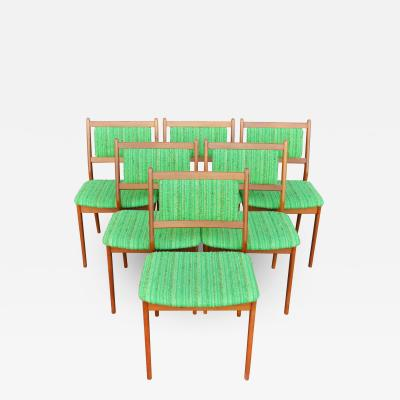 Fab Bright Green Upholstered Set of 6 Teak Dining Chairs