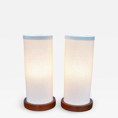Fab Pair of Teak Cylinder Bedside Lamps w New Linen Shades