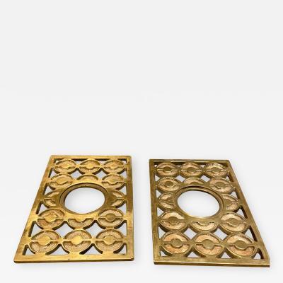 Fab Patinated Brass Bronze Door Knob Backplate Set Modern Op Art Design 1960s