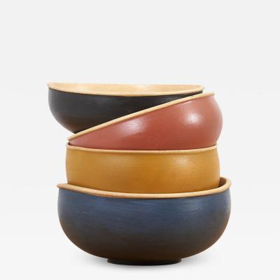 Fabian Fischer Set of 4 Wooden Bowls by Fabian Fischer