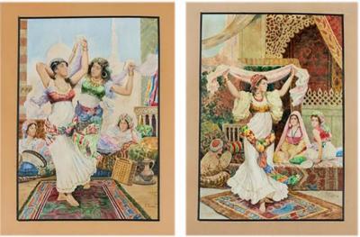 Fabio Fabbi Italian 1861 1946 Pair of Orientalist Watercolors Harem Dancers