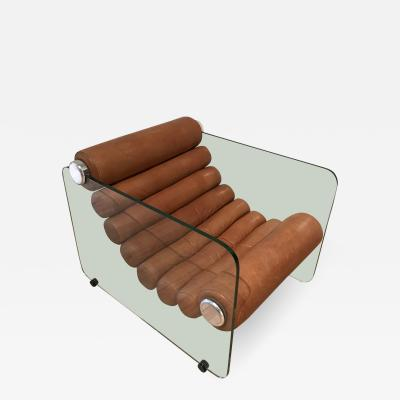 Fabio Lenci Glass and Leather Hyaline Lounge Chair by Fabio Lenci