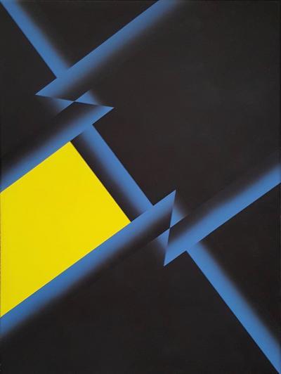 Fabrizio Breschi Black Yellow Blue Geometric Abstract