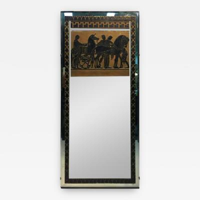 Fabulous Art Deco Mirror with Greco Roman Horse and Chariot Scene