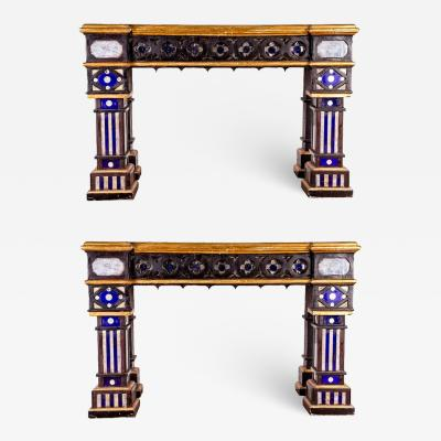 Fabulous Pair of Italian 19th Century Neo Gothic Console Tables