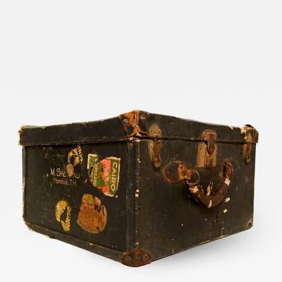 Fabulously Distressed Travel Trunk w Original Brass Lock Key Honolulu T H