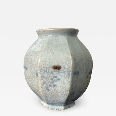 Faceted Korean Ceramic Celadon Jar Joseon Dynasty