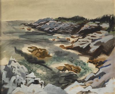 Fairfield Porter Harbor Isle au Haut on verso Rocky Shore