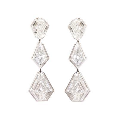 Fancy Cut Diamond Earrings in 18k White Gold