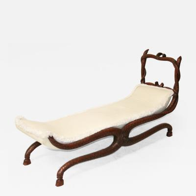 Fantastic 19th Century Serpent Carved Walnut Daybed Bench