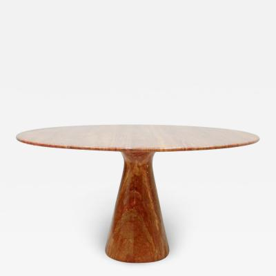 Fantastic Circular Red Brown Marble Dining Table Italy 1970