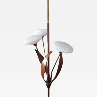 Fantastic Flying Saucer Glass Brass Walnut Three Light Ceiling Tension Pole Lamp