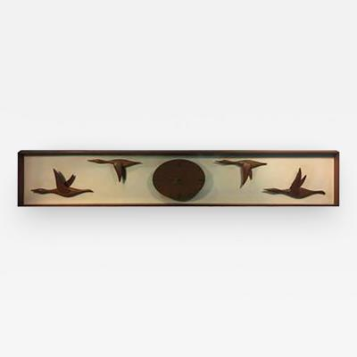 Fantastic Mid Century Modern Hand Sculpted Geese in Flight Wall Clock