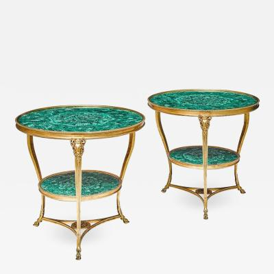 Fantastic Pair of Louis XVI Style Gilt Bronze and Malachite Gueridons Tables