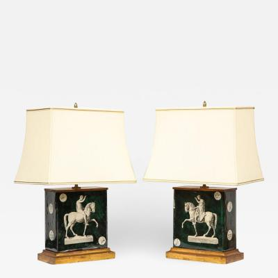 Fantastic Pair of Mid Century Italian Green Molded Glass Lamps Fornasetti