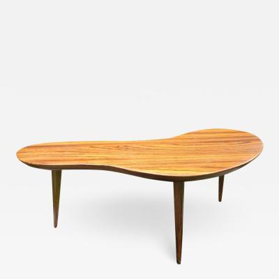Fantastic Petite Boomerang or Kidney Shape Zebrawood Coffee Table Midcentury