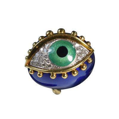 Fantastic Surreal Eye Ring Enamel 18k Diamonds
