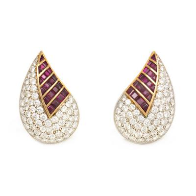Fasano Fasano Diamond and Ruby Stylized Leaf Earrings