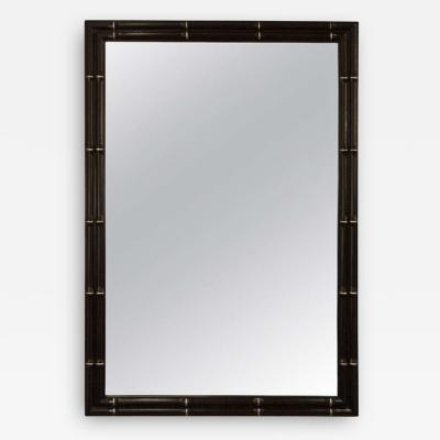 Faux Bamboo Lacquer Mirrors with Silver Leaf Detail