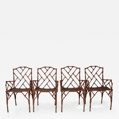 Faux Bamboo Metal Arm Chairs