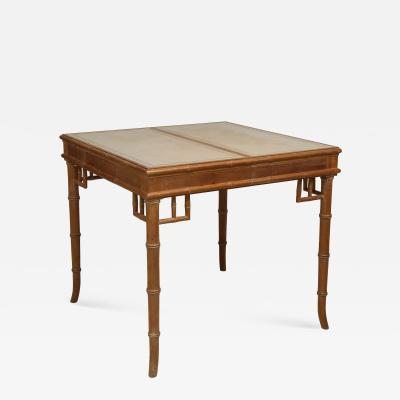 Faux Bamboo and Leather Gaming Table with Two Central Drawers