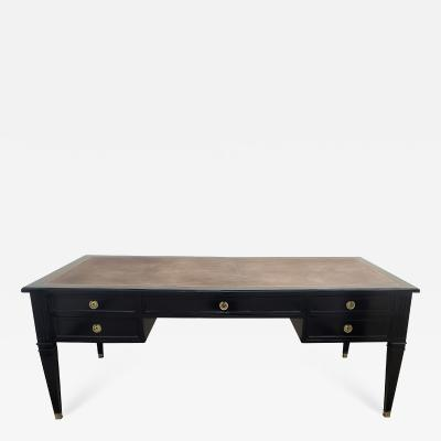 Faux Partner Leather Top Bureau Plat Writing Desk in the Louis XVI Manner