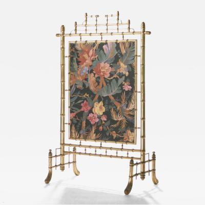 Faux bamboo decorative fire screen 1970 s