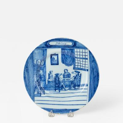 February Dutch Delft Calendar Plate