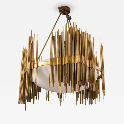 Fedele Papagni Fedele Papagni Chandelier Gilt Bronze and Opaline Rods Circa 1980 Italy