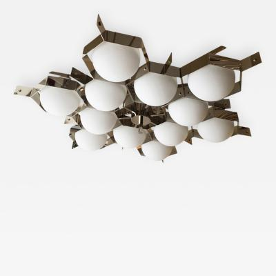 Fedele Papagni Nickel Flush Mount Fixture by Fedele Papagni for Gaspare Asaro Italy 2014