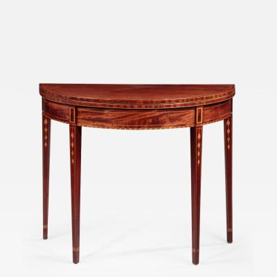 Federal Inlaid Demi Lune Card Table