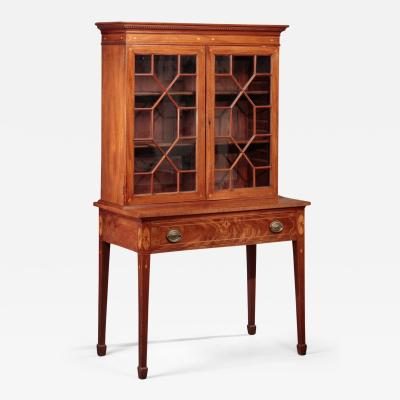 Federal Inlaid and Glazed Bookcase and Desk