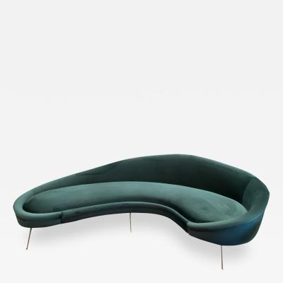 Federico Munari Italian Sculptural Sofa in Velvet Attributed to Federico Munari Italy 1950s