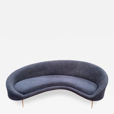 Federico Munari Midcentury Italian Blue Wool Sheep Curved Sofa by Federico Munari